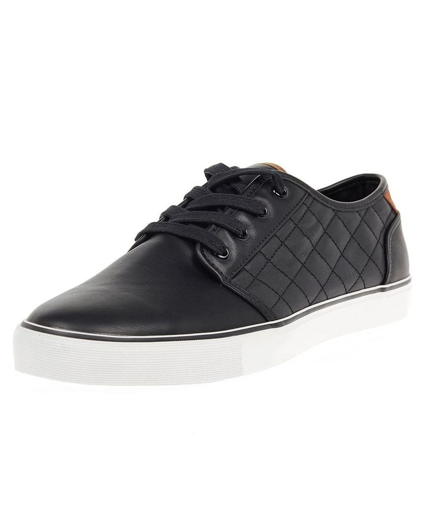 Men's Blue Inc Black Quilted PU Trainers, Black