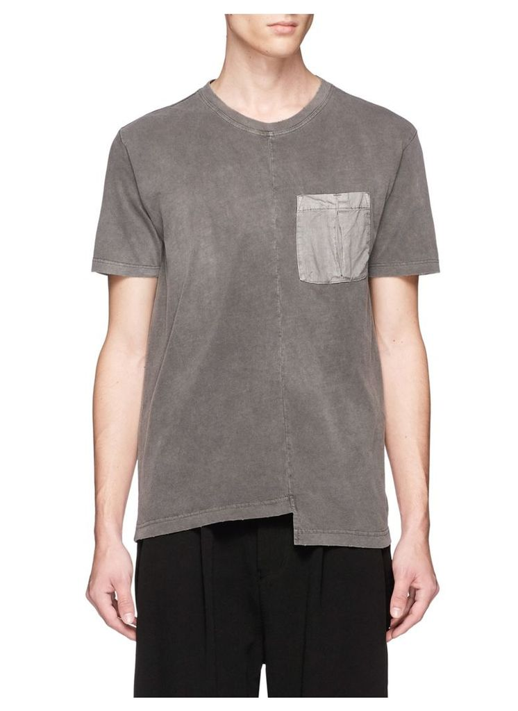 Staggered hem washed cotton jersey T-shirt