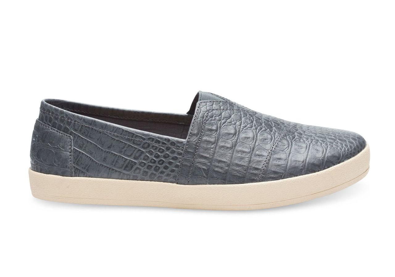 Castlerock Grey Full Grain Croc Embossed Leather Men's Avalon Slip Ons
