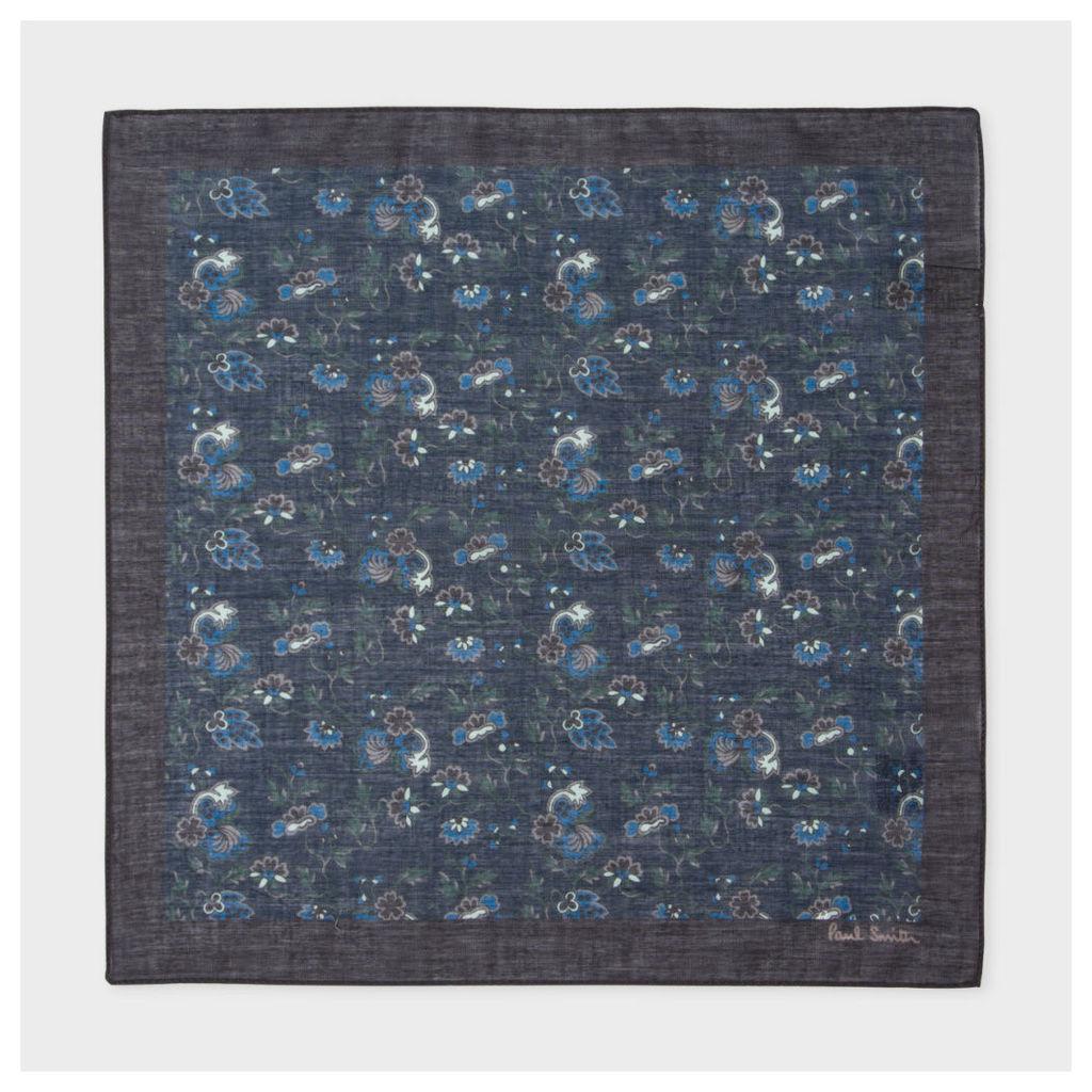 Men's Navy 'Logan Floral' Print Cotton Pocket Square