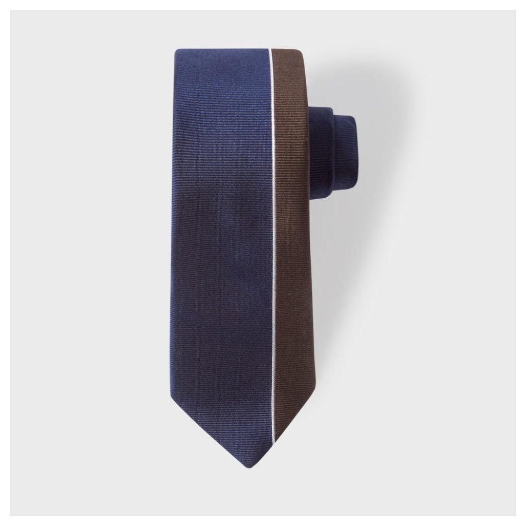 Men's Navy And Brown Asymmetric Stripe Narrow Silk Tie