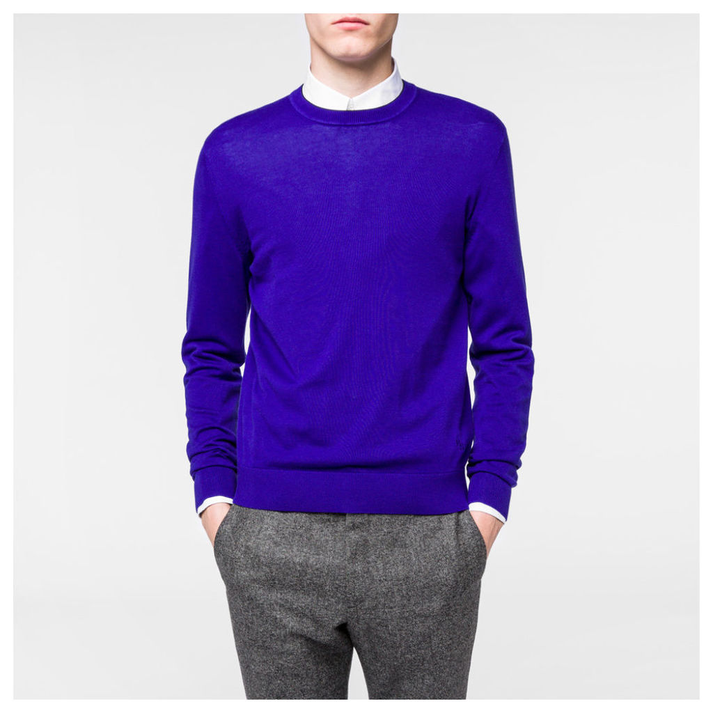 Men's Indigo Cotton-Blend Sweater With Contrast Collar Tipping