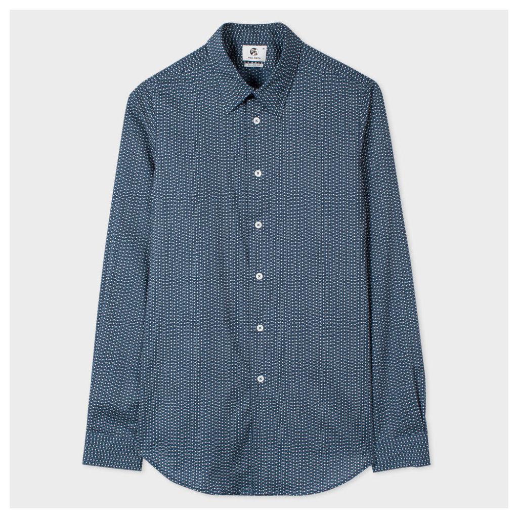 Men's Tailored-Fit Blue Split-Scale Polka Dot Print Shirt