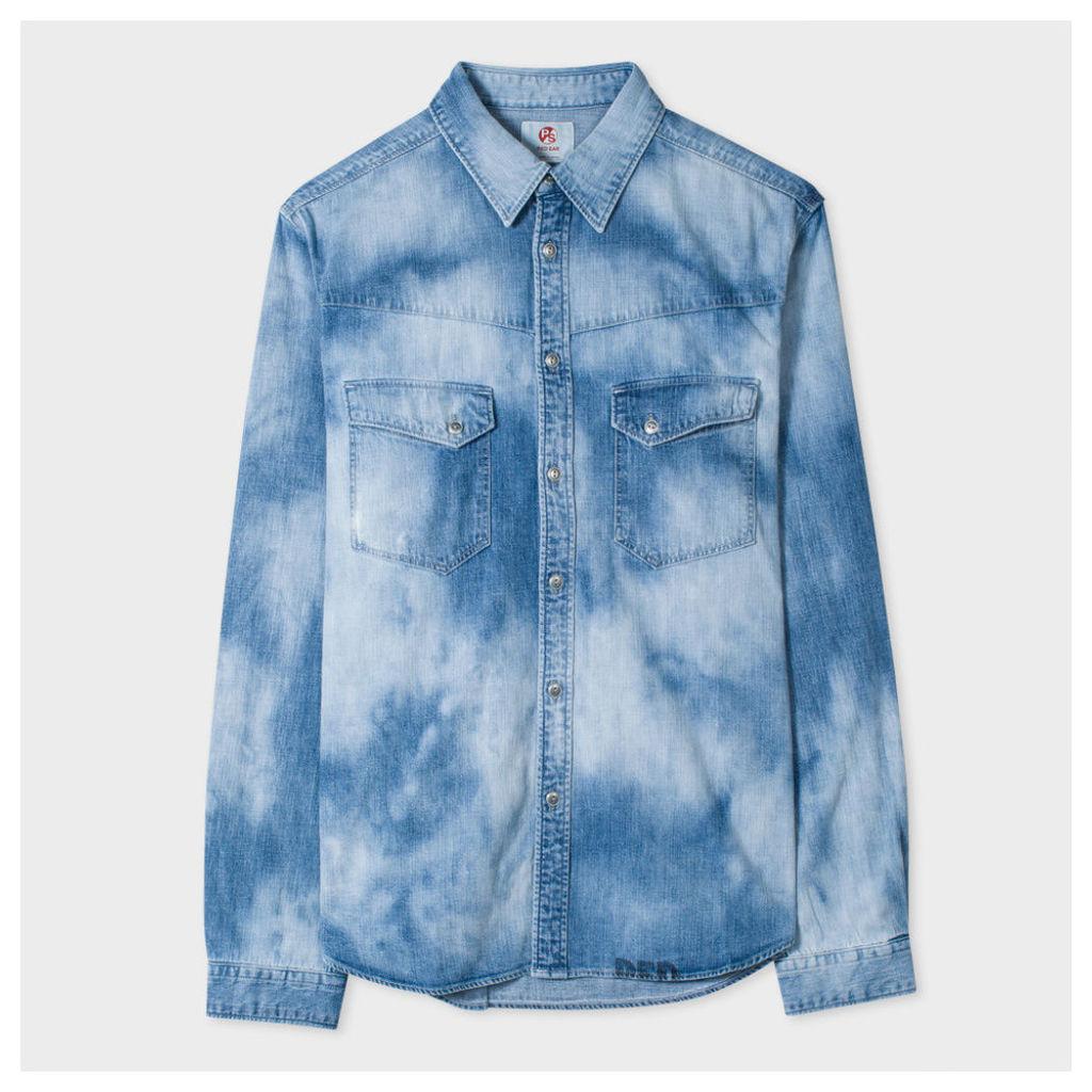Men's Bleach-Wash Denim Western Shirt