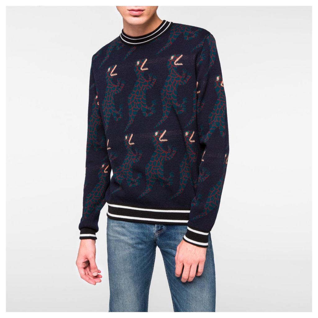 Men's Navy Repeating 'Dino' Pattern Wool-Silk Sweater