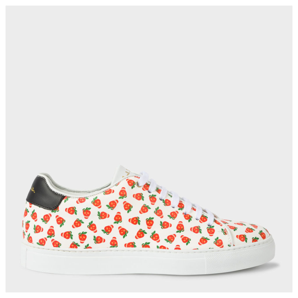 Men's White Leather 'Basso' Trainers With Strawberry Skulls Print