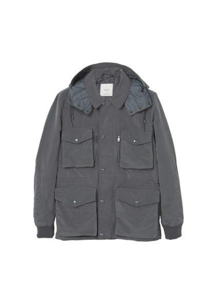 Hooded nylon field jacket