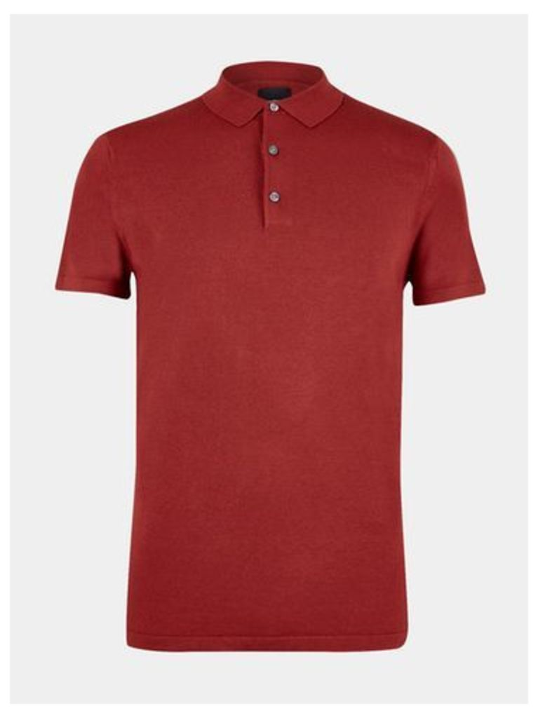 Mens Burnt Red Short Sleeve Knitted Polo Shirt, DARK RED