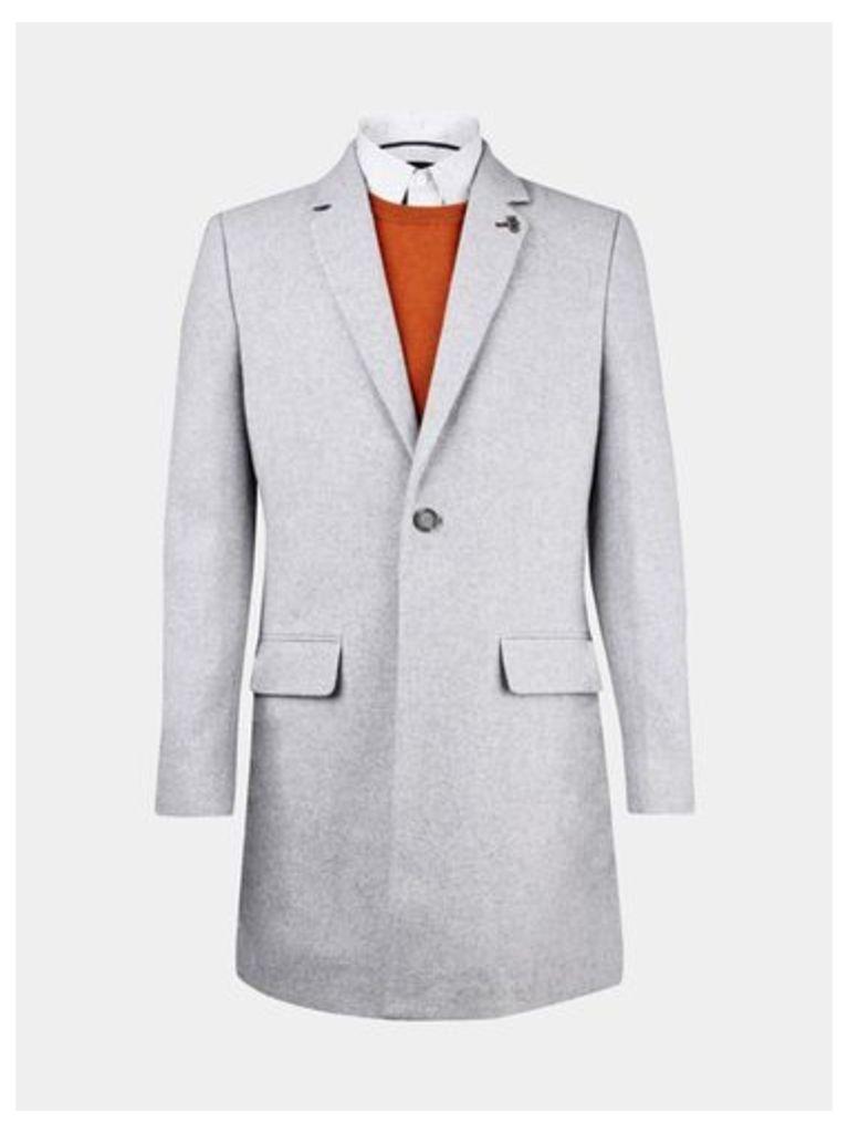 Mens Light Grey Wool Chesterfield Coat, LIGHT GREY