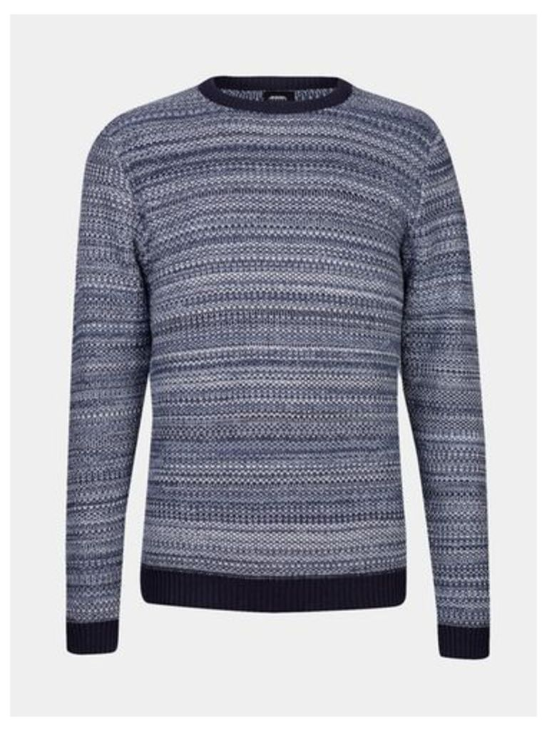 Mens Navy And Ecru Textured Knitted Jumper, Blue
