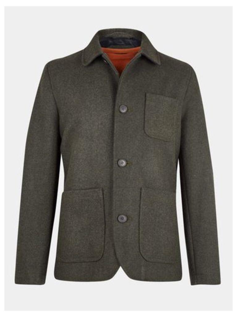 Mens Khaki Wool Blend Worker Jacket, KHAKI