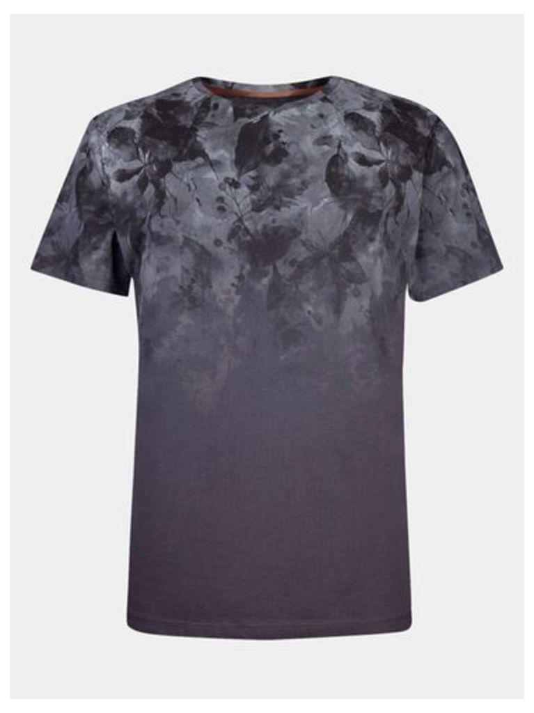 Mens Charcoal Floral Print T-Shirt, GREY