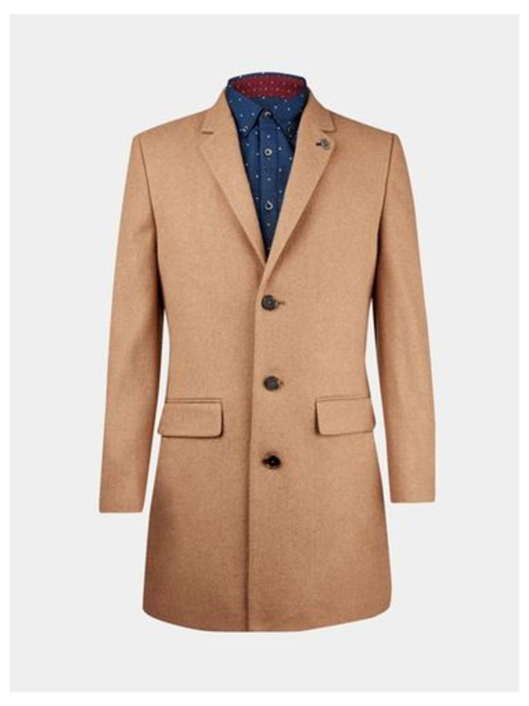 Mens Camel Wool Chesterfield Coat, CAMEL