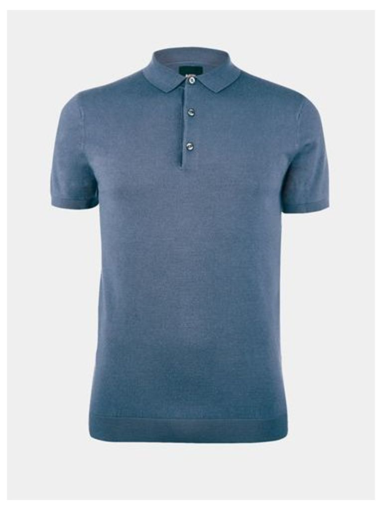 Mens Blue Short Sleeve Knitted Polo Shirt, MID BLUE