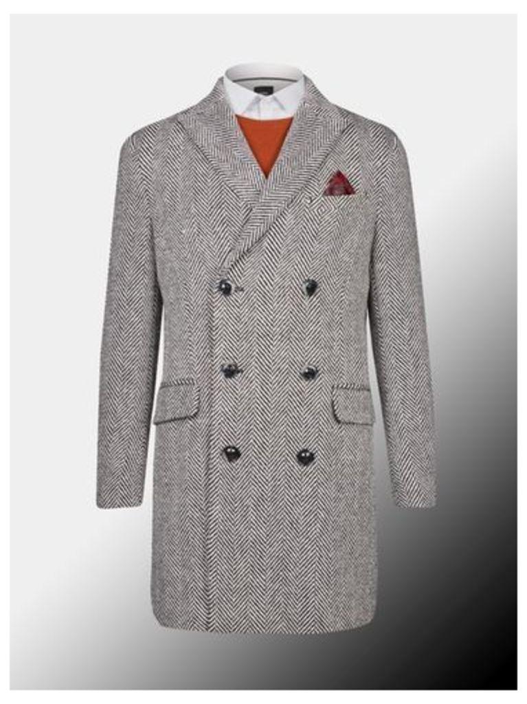 Mens Montague Burton Monochrome Herringbone Wool Overcoat, Black