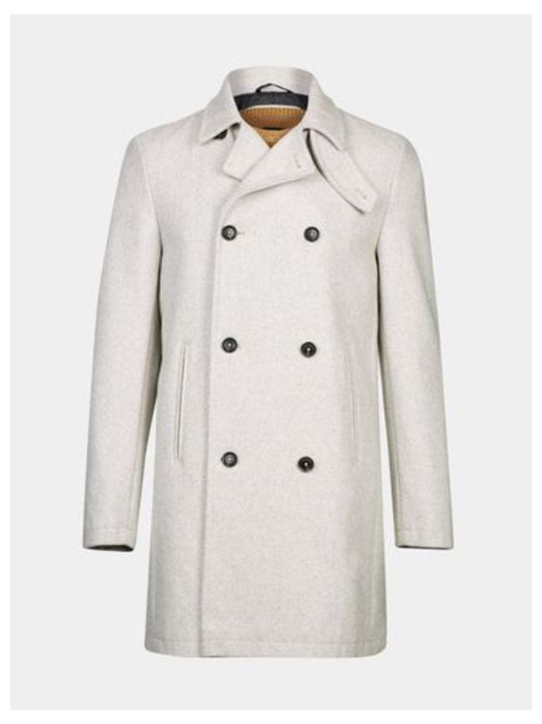 Mens White Wool Blend Coat, STONE