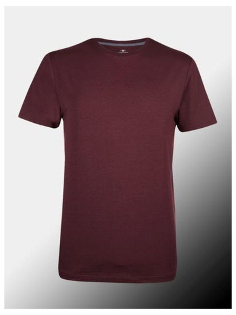 Mens Montague Burton Burgundy Premium Modal Crew Neck T-Shirt, burgundy