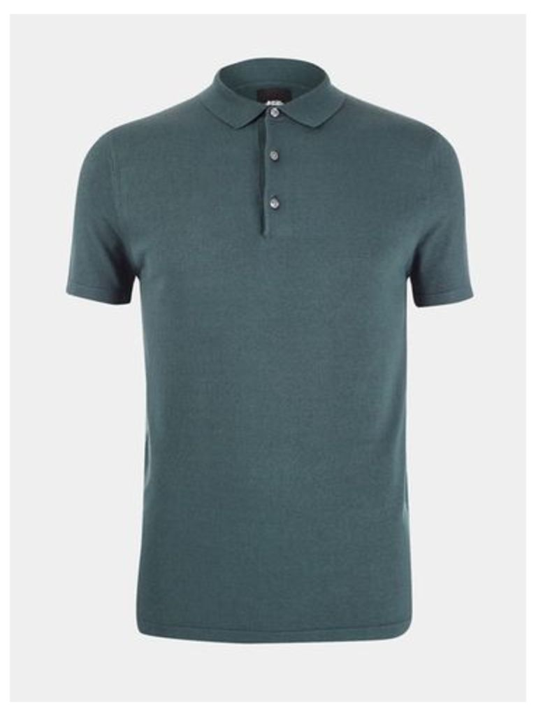 Mens Green Short Sleeve Knitted Polo Jumper, MID GREEN