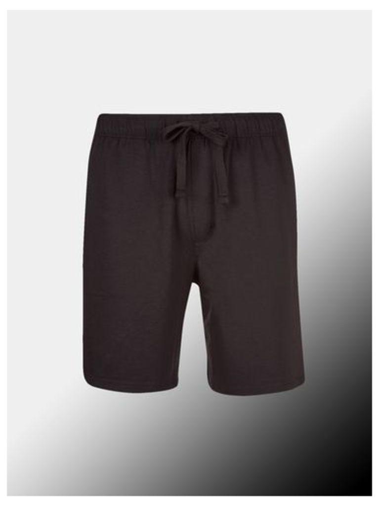 Mens Montague Burton Premium Black Modal Shorts, BLACK
