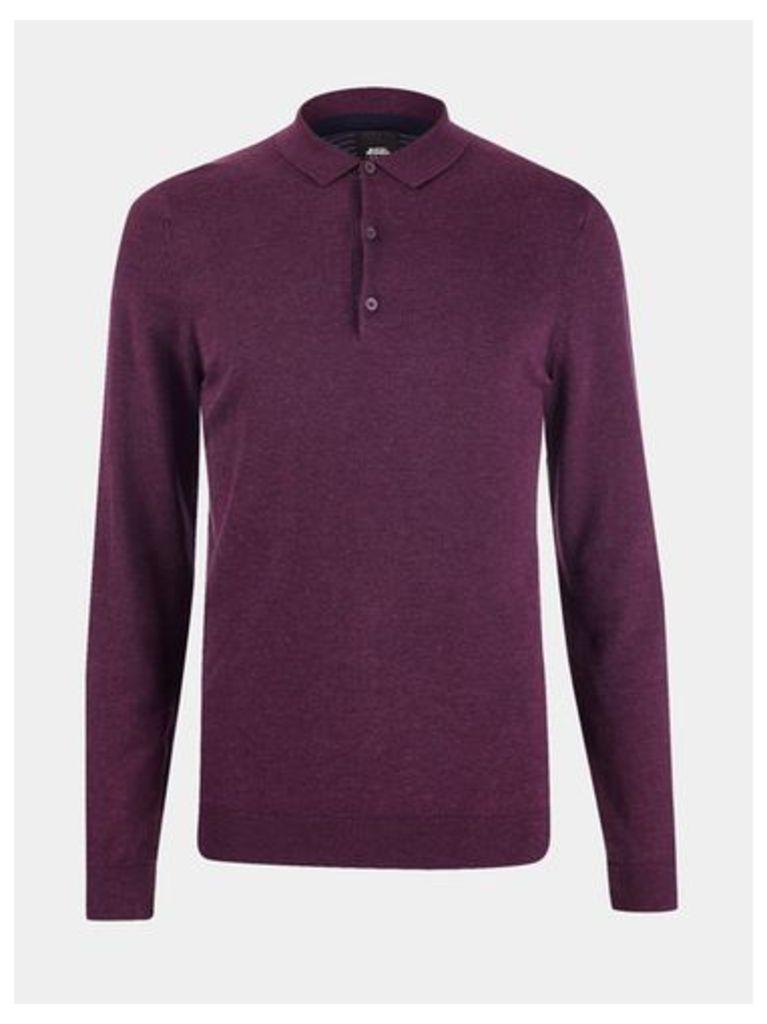 Mens Purple Long Sleeve Knitted Polo Jumper, Purple