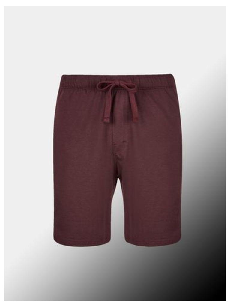 Mens Montague Burton Burgundy Premium Modal Shorts, BURGUNDY