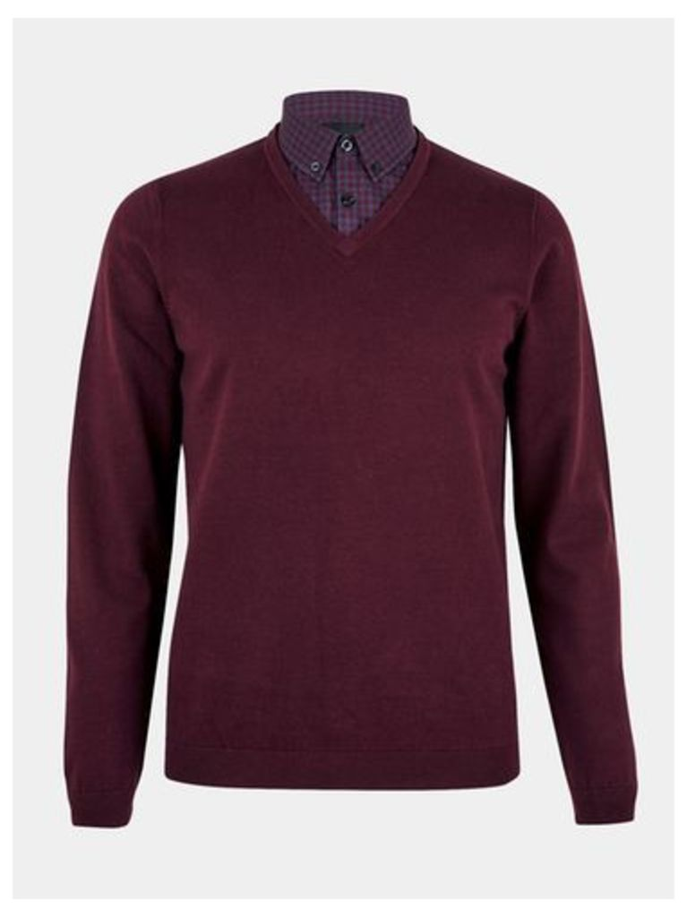Mens Burgundy Mock Shirt V-Neck Jumper, BURGUNDY