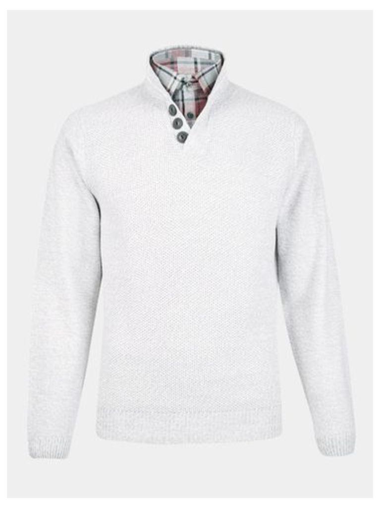 Mens Ecru Mock Shirt Button Neck Jumper, Cream