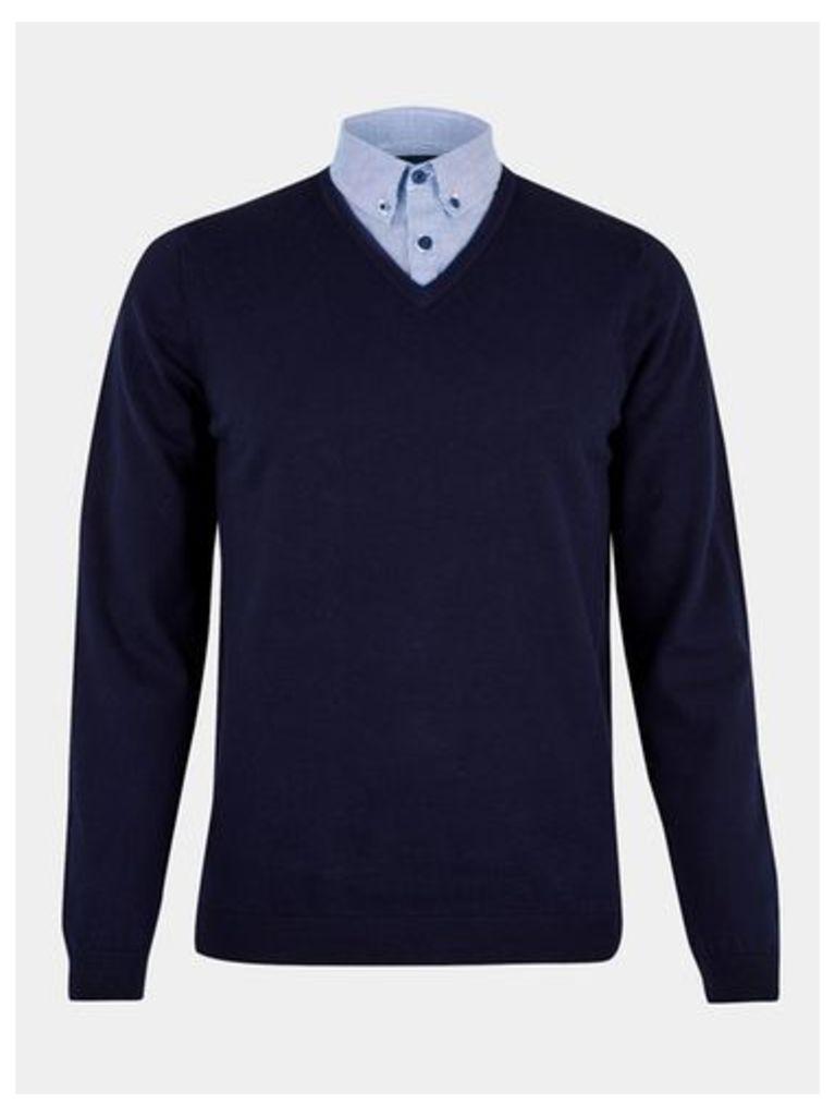 Mens Navy Mock Shirt V-Neck Jumper, Blue