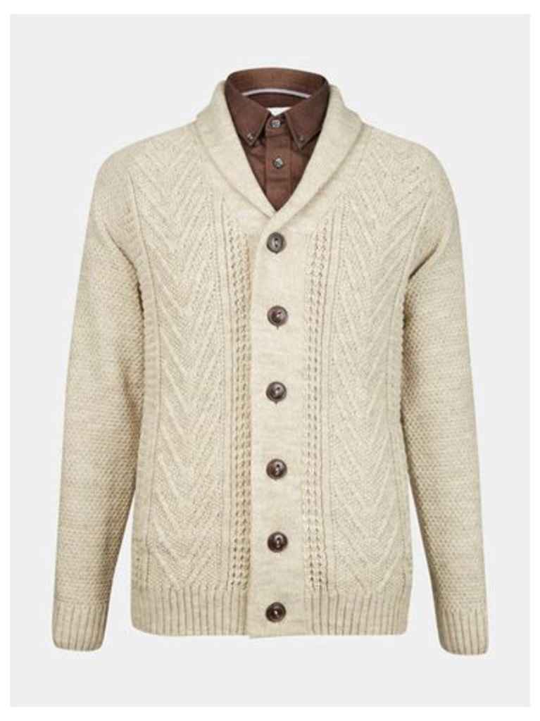 Mens Oatmeal Shawl Neck Cable Cardigan, Cream