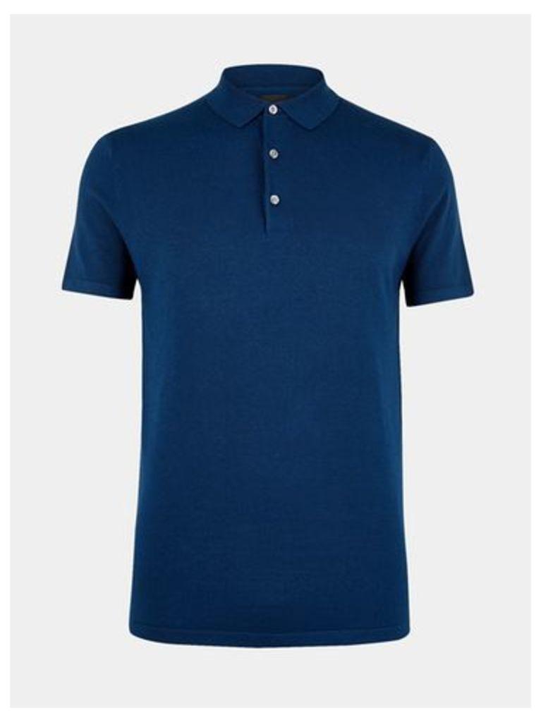 Mens Dark Blue Short Sleeve Knitted Polo Shirt, DARK BLUE