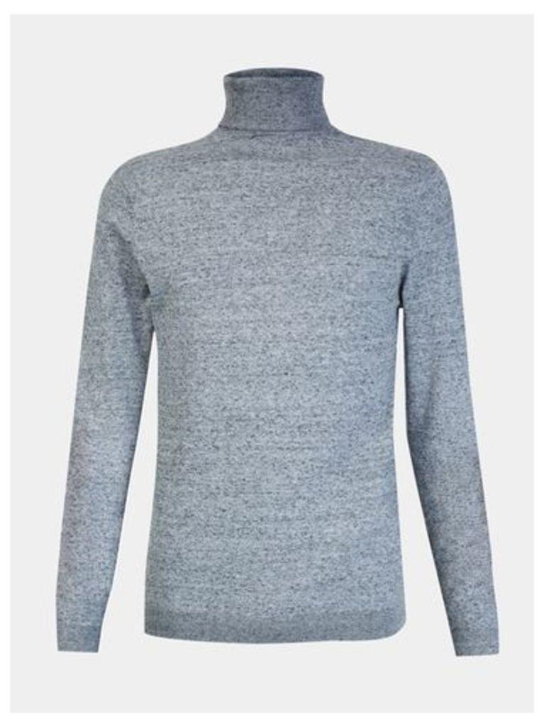 Mens Grey Roll Neck Knitted Jumper, LIGHT GREY
