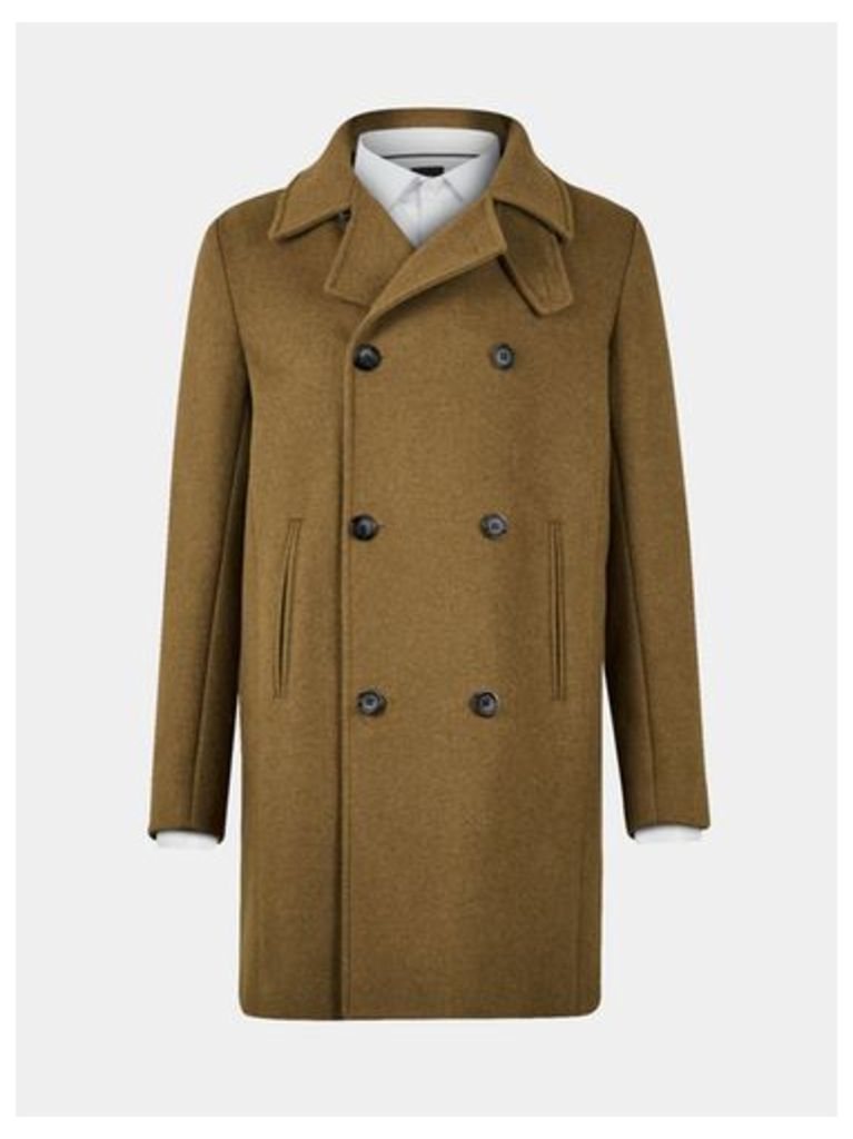 Mens Olive Double Breasted Wool Overcoat, MID GREEN