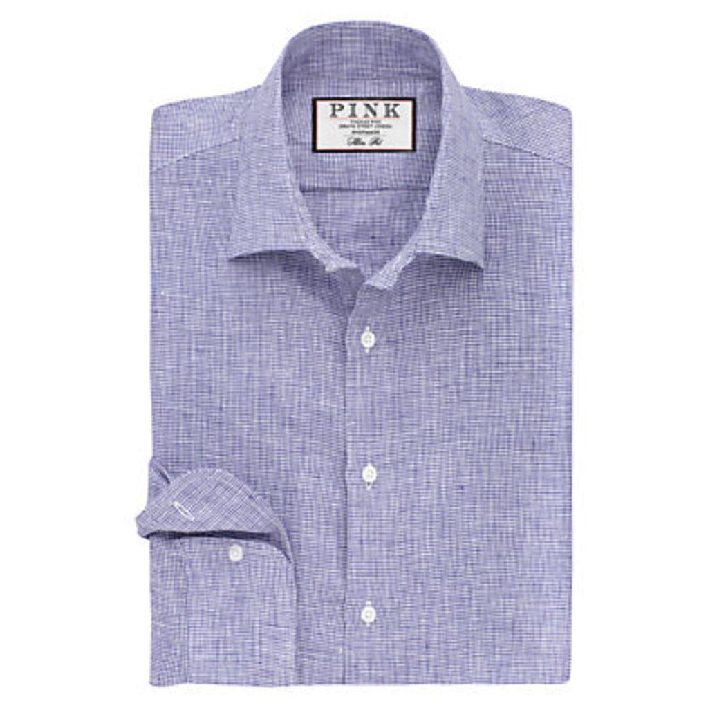 Thomas Pink Riley Slim Fit Textured Linen Shirt