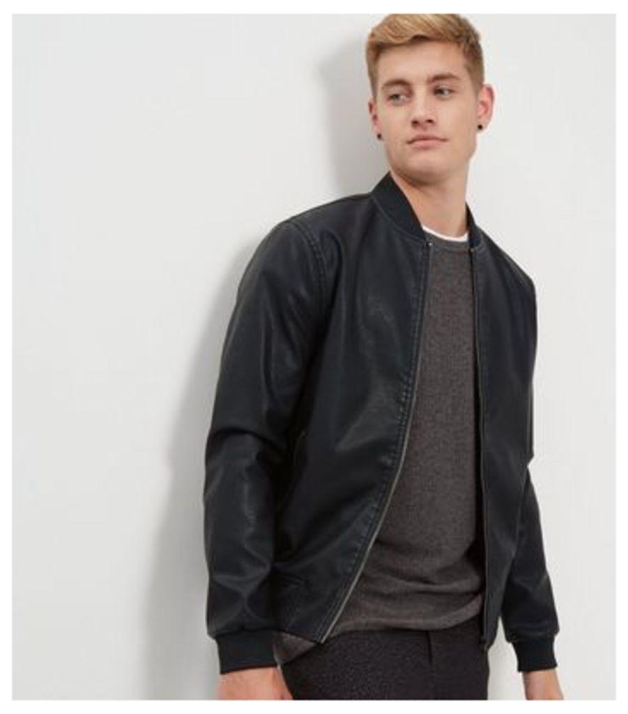 Black Leather-Look Bomber Jacket