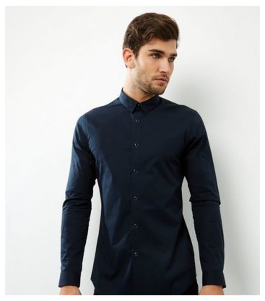 Navy Stripe Collar Popper Front Shirt