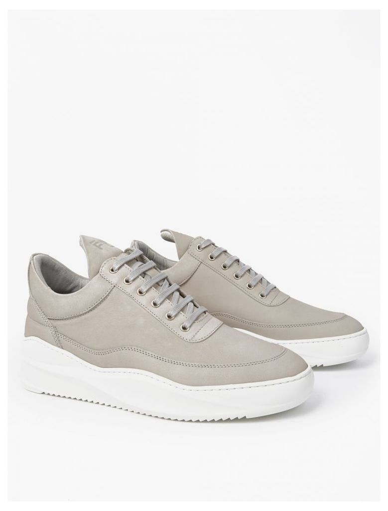 Grey Leather Low-Top Sneakers