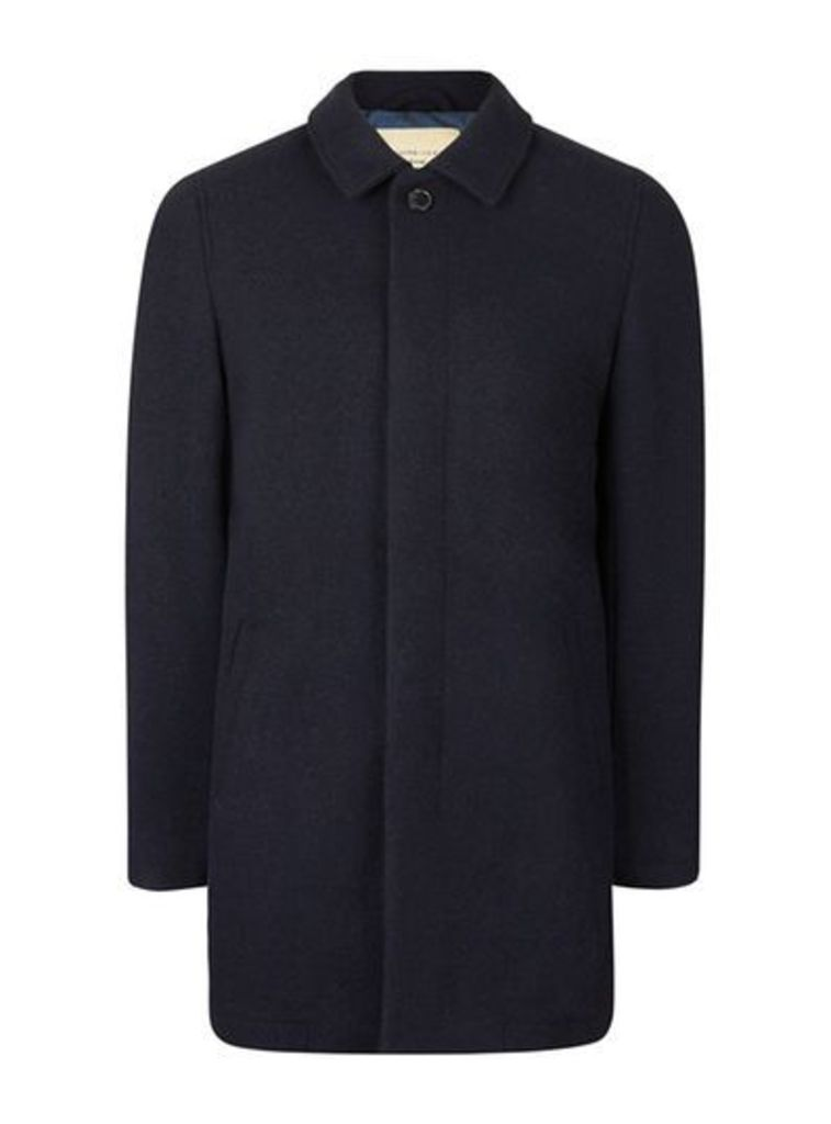 Mens Blue SELECTED HOMME Navy Overcoat, Blue
