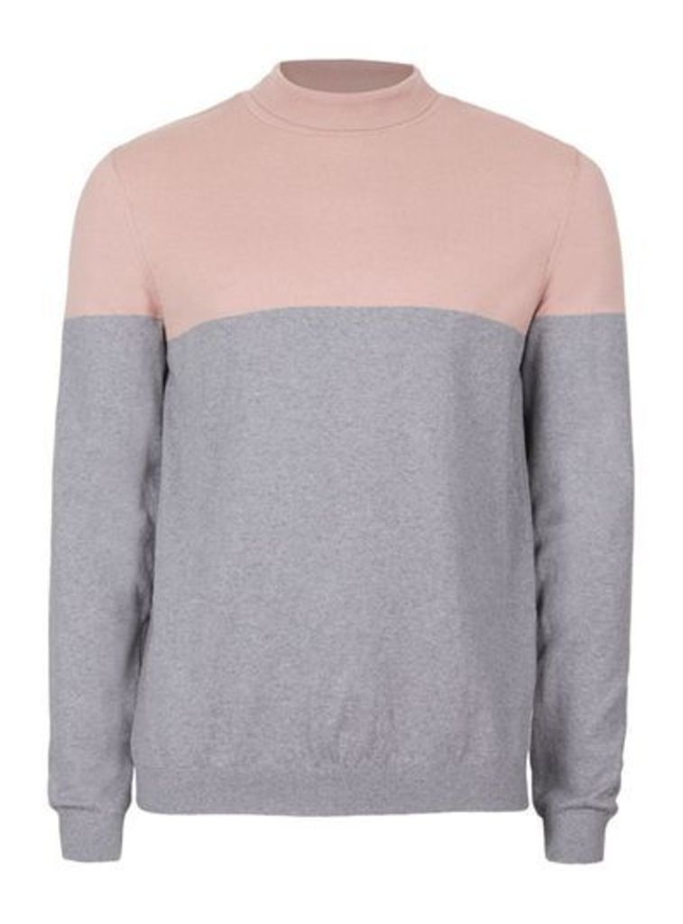 Mens Pink and Grey Colour Block Mini Roll Neck Slim Fit Jumper, Pink