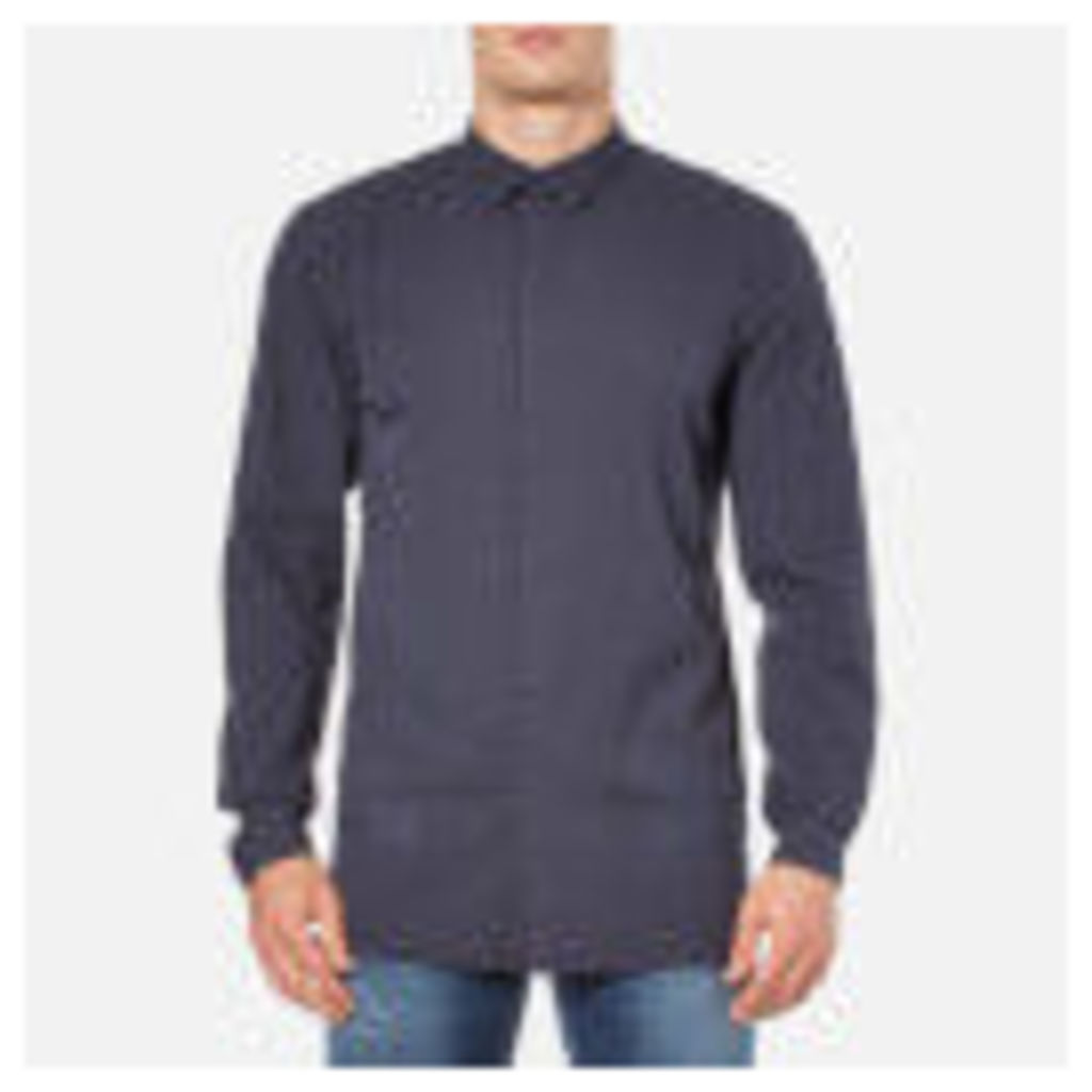 Helmut Lang Men's Canvas Long Sleeve Shirt - Peacoat Blue - XL