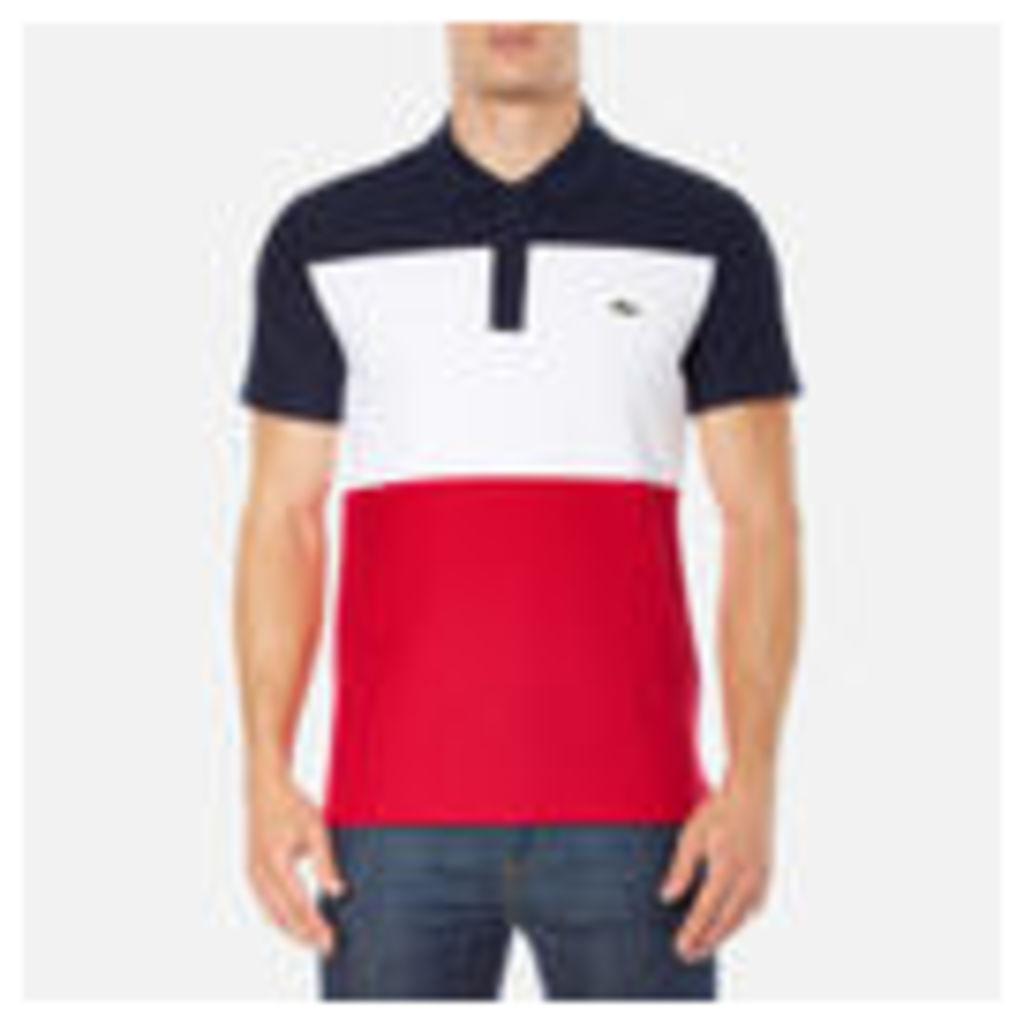 Lacoste Men's Short Sleeve Bold Stripe Polo Shirt - Navy Blue/White/Red - 5/L