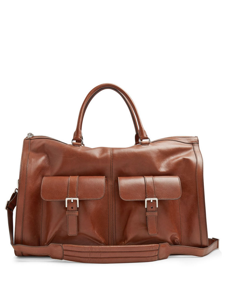 Grained-leather travel bag