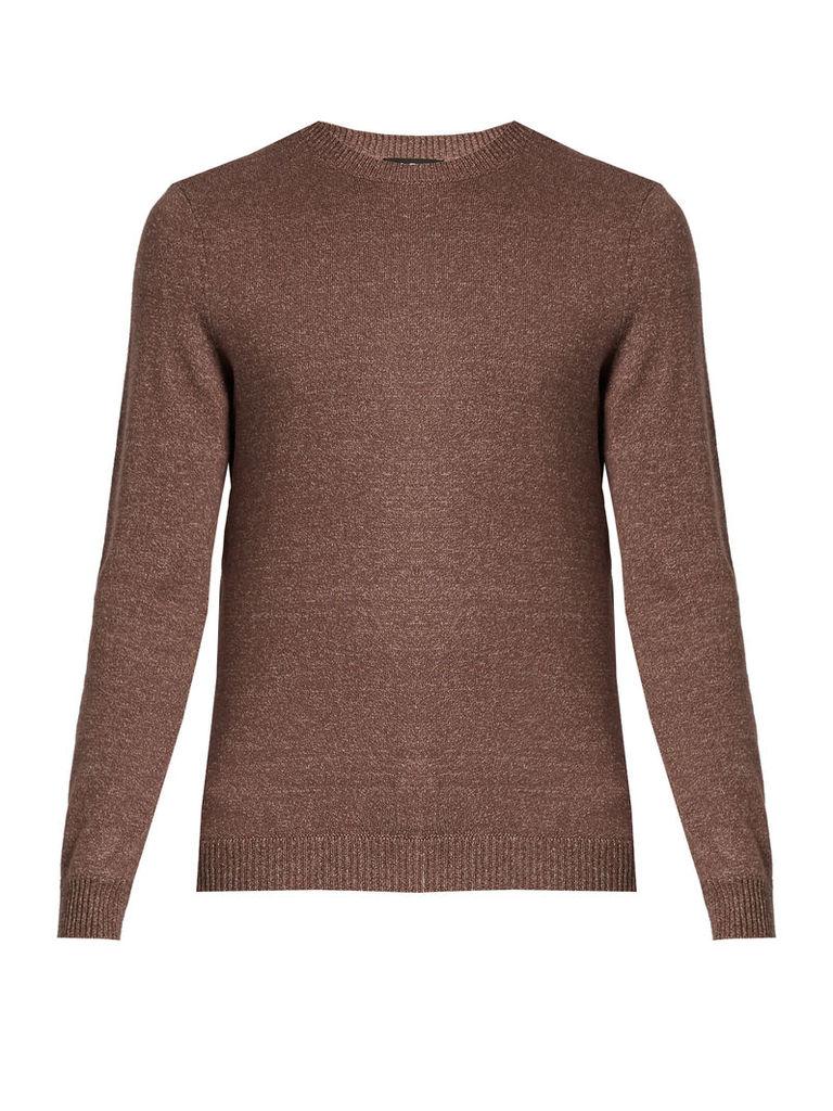 Crew neck cotton-blend sweater