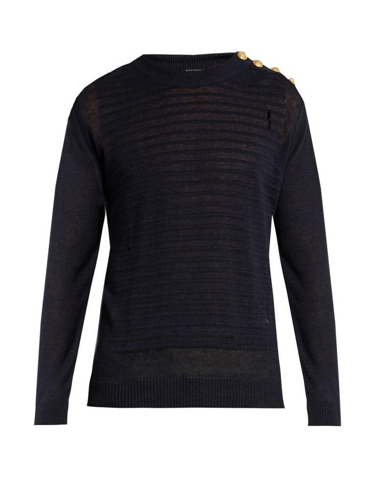 Button-shoulder distressed linen sweater