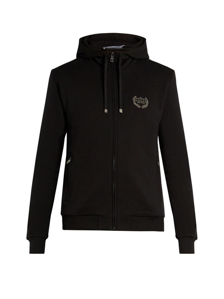 Badge-appliqué cotton-jersey hooded sweatshirt