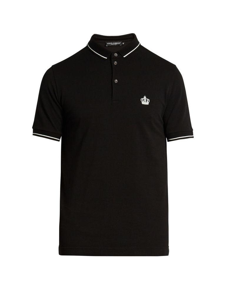 Crown-embroidered cotton-piqué polo shirt