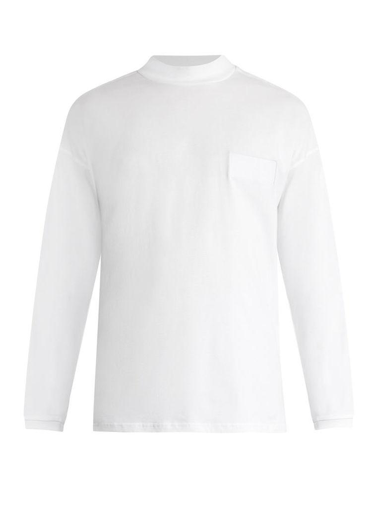 Funnel-neck cotton-jersey T-shirt