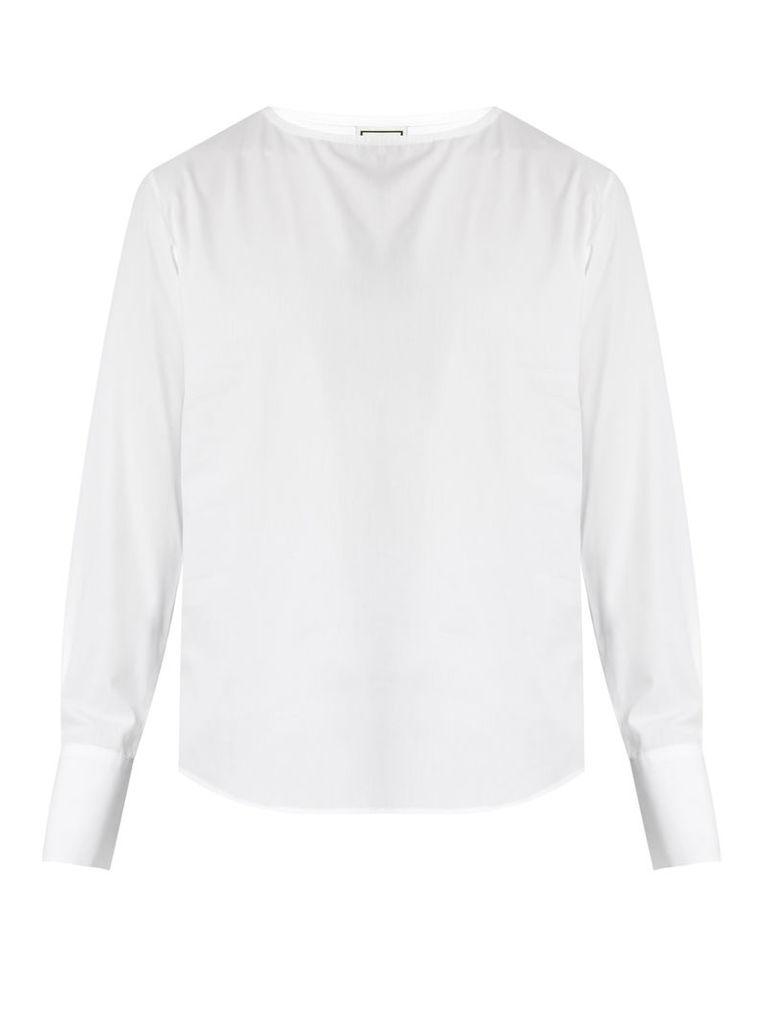 Crew-neck cotton-poplin shirt