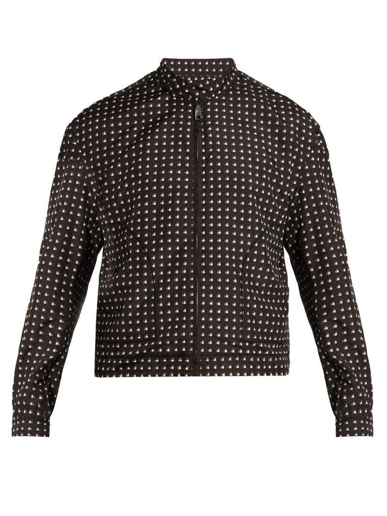 Square-print bomber jacket
