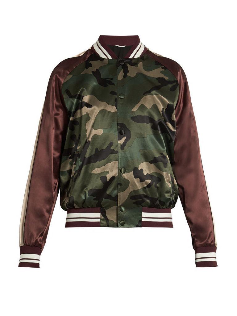 Camouflage-print satin bomber jacket