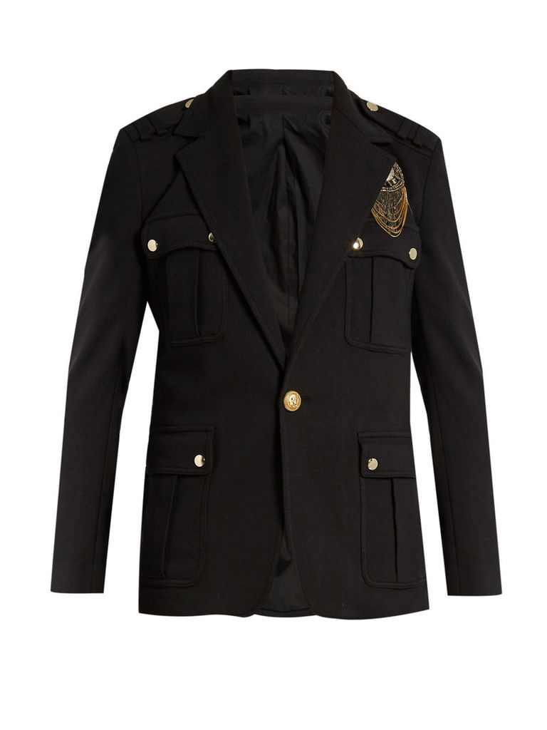 Embroidered appliqué-patch field jacket